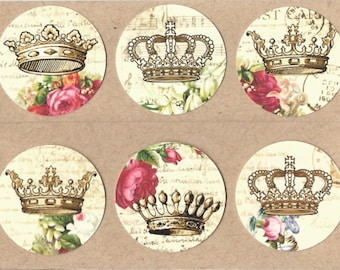 Sticker Seals Shabby French Style Crowns 18 pcs