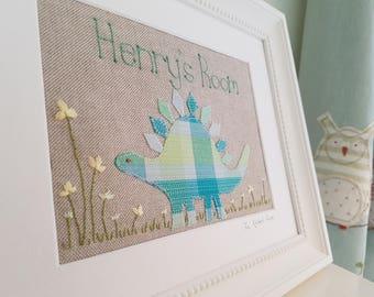 Children's room sign, hand embroidered dinosaur picture, nursery wall decor, children's room decor, door name picture, children's art