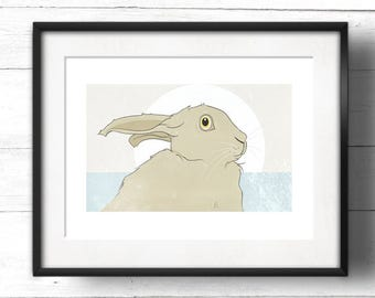 Golden Hare No.5 - A3 Giclée Print - Wild Hare with Moon, based on Golden Ratio / Golden Section and Fibonacci Sequence