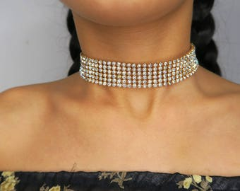 PARIS Silver sparkle crystal / diamond choker-  Gift for her