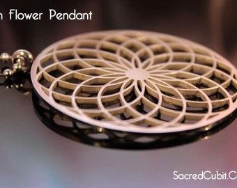 Sunflower Mandala Crop Circle Pendant