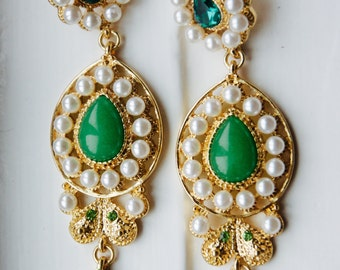 Pearl and Green Stone Statement Earrings - Multi-faceted Stone Statement Drop Earrings