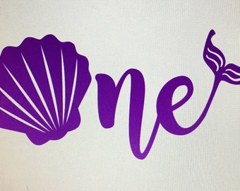 Iron on One Mermaid Decal / iron on number 1 decal / iron on  decal
