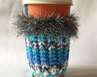 Crochet Coffee Cup Cozy Sleeve Black Pink and Gray with Eyelash yarn Trim