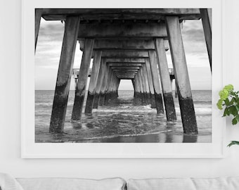 Framed pier photo print - Ready to hang - Classic black + white photography - Tybee Island Georgia southern art - Coastal Beach wall decor