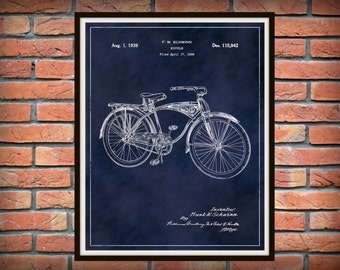 Patent 1939 Schwinn Bicycle Invented by Frank Schwinn - Art Print - Poster Wall Art - Bicycle Shop Art -
