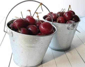 Silver Galvanized Bucket - 4 inches -metal pail,silver bucket,rustic wedding decor,table centerpiece,silver metal pail,farmhouse decor