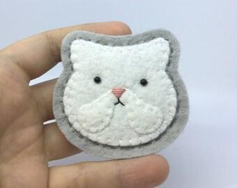 White Persian Cat Hand Sewn Wool Felt Pin