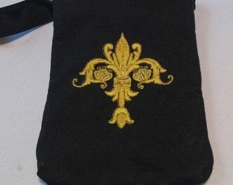 Metallic Embroidered Wristlet