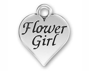 5 Silver Heart Flower Girl Charm 18x16mm by TIJC SP0552