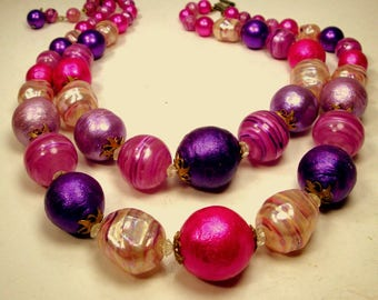 WOW, Fuschia, Red Violet, Hot Pink & Whites 2 Strand Necklace, 1960s GORGEOUS EASTER Mad Men Resin n  Glass Beads, Adjustable  Length