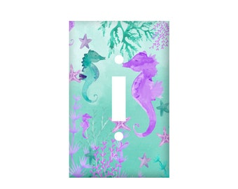 Seahorse light switch cover, teal purple switchplate, watercolor ocean rocker cover, electrical outlet mermaid, bathroom decor nursery theme