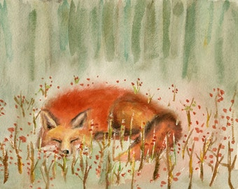 "fox art,red fox,fox watercolor,Fox painting,titled""sleeping Fox"",fox watercolor prints,animal prints,nursery decor"
