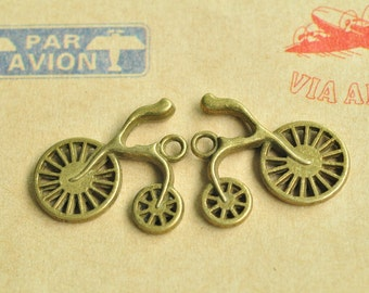 10pcs Antique Bronze Bicycle Bike Cycle Charm Pendant 25x23mm MM235