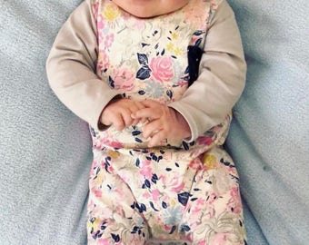 Baby girl floral romper- Toddler girl floral romper- Coming home outfit- Baby girl winter outfit- Toddler girl winter outfit- Harem romper