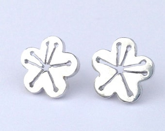 Cherry blossom silver post earring
