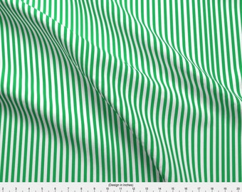 Green Stripe Fabric - Perfectly Pinstripe In Grass Green // White By Theartwerks - Green Striped Cotton Fabric By The Yard With Spoonflower