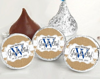 108 Burlap and Lace Monogram Hershey Kiss® Stickers - Hershey Kiss Stickers Vow Renewal - Personalized Hershey Kiss Labels - Kiss Seals