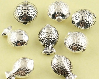 925 sterling fish beads, fish beads, silver beads, silver fish, fish bracelet diy, fish necklace, fish bead, beaded bracelet