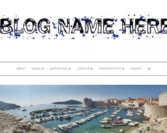 Pre-made Blog Header- logo/ website header / business logo/ -quirky, unique, blue, pretty, cool, bubble writing, paint splatter