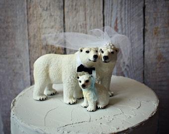Polar bear wedding cake topper-family-animal-wedding cake topper-bride-groom-baby-bear-winter-woodland-animal lover-Mr. and Mrs.-bridal