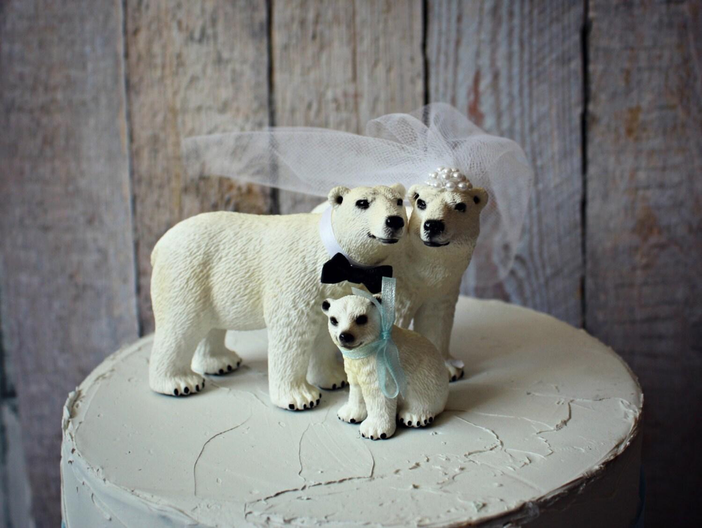 Polar Bear Wedding Cake Topper Family Animal