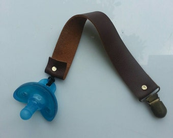 Leather pacifier clip- toy teather