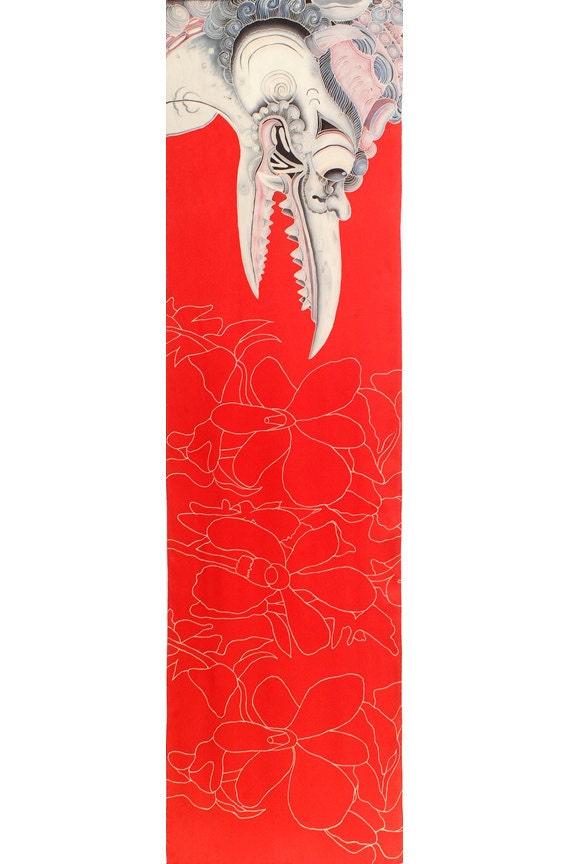 Mask scarf, Garuda scarf, Orchid scarf, Wrap Scarf, Floral Scarf, Girlfriend Gift, Flower scarf, red, Fashion scarves, One of a kind scarf,