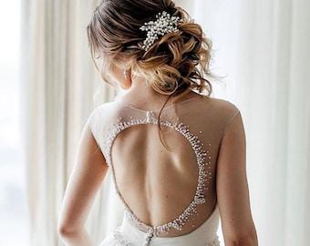 Crystal Pearl Bridal hair comb Pearl Wedding hair comb Pearl Bridal headpiece Wedding headpiece Pearl Wedding hair accessories