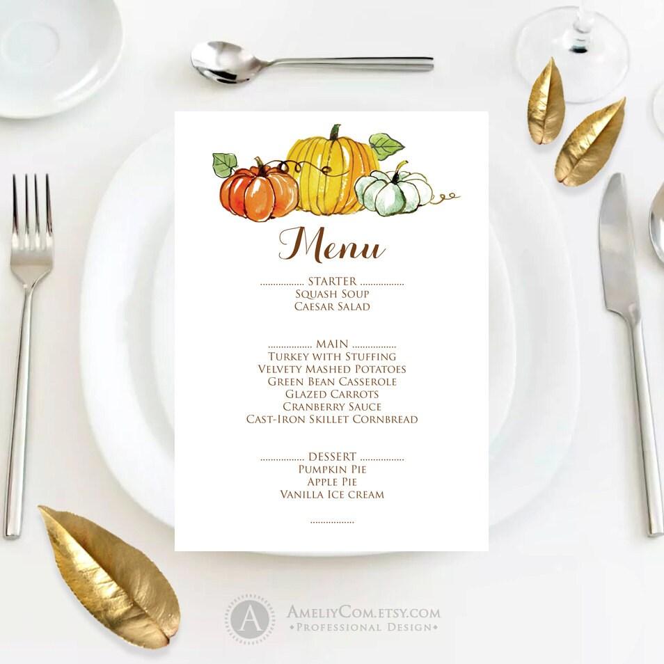 thanksgiving menu template free