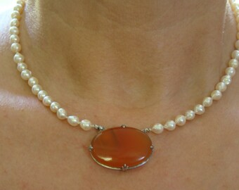 Japanese Cultured Salt Water Akoya Pearl Necklace with Carnelian and Sterling Silver Victorian Decorative Front Clasp