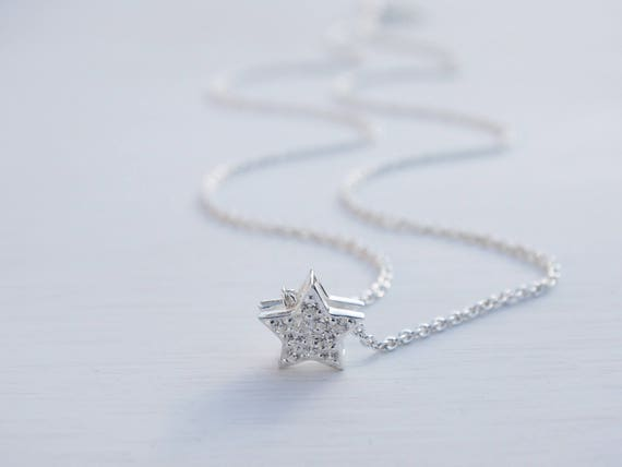 Tiny Silver Star Necklace, Cubic Zirconia, Sterling Silver