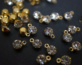 Tiny 18K Gold Plated Clear Crystal Round Pendants  - 5mm - 20 pcs