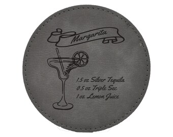 Margarita Drink Coasters - Traditional Mixed Drink Recipies - Choice of Coaster Color and Shape - 068