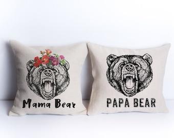 Mama bear and Papa bear pillow cases mama bear shirt mama bear tshirt mama bear pillow mama bear pillowcase