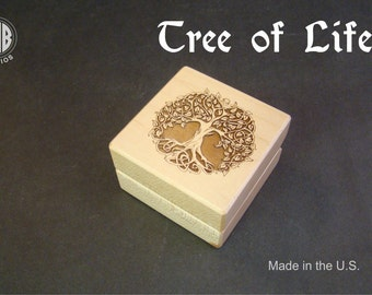 Ring Box, Celtic Tree of Life.  Free Shipping and Engraving