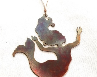 hand cut copper mermaid child Christmas ornament