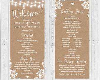 format for wedding programs