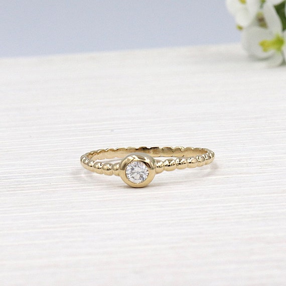 ring solitaire women gold plated