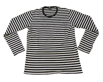 Black and White Striped Long-Sleeve Shirt