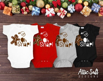 Oh Snap! Christmas Infant Bodysuit, Baby Girl Christmas Bodysuit, Baby Boy Christmas Bodysuit