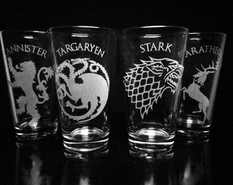 Game of Thrones Pint Glass Set -House Stark -House Targaryen -House Baratheon -House Lannister- Set of Four