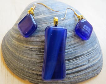 0182 - Dark Blue Fused Glass Pendant and Earring Set