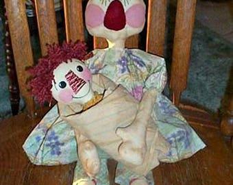 Raggedy Doll Pattern, Primitive Doll Pattern, Cloth Doll Pattern, Rag Doll Patterns,  Sewing Pattern, Paper Pattern, Annie & Her Dollie