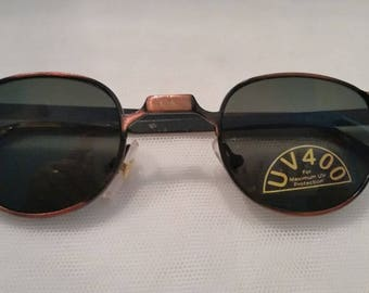 Vintage Metro Square/Round Small Sunglasses.  Small Cool Unique Vintage Sunglasses. Copper Color Wire Small Sunglasses.