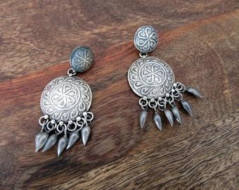 India Tribal Silver Earrings
