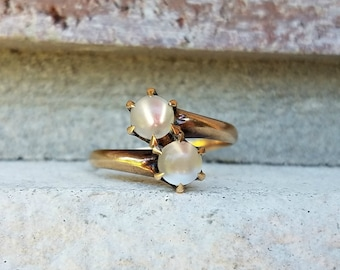 Antique Ostby Barton Moonstone Bypass Ring in 10k Yellow Gold   Vintage Moonstone Engagement Ring Toi et Moi