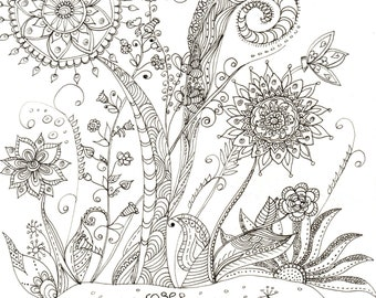 Downloadable Colouring Page, Mindfulness Nature Colouring Sheet, Art Therapy, Floral Digital Page, Wildflower Art, DIY Floral Colouring