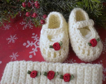 Crocheted Newborn Maryjanes, Headband Antique White  Red Silk Rose,Newborn 0 3 mo