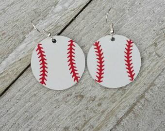 Small Baseball Leather Earrings